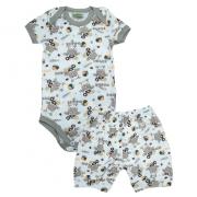 Conjunto Bebê Body Hipopótamo Pérola E Marrom