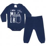 Conjunto Bebê Body I Love Milk Marinho