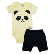 Conjunto Bebê Body Panda Amarelo