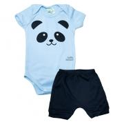 Conjunto Bebê Body Panda  Azul