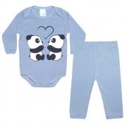 Conjunto Bebê Body Panda Cinza
