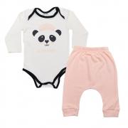 Conjunto Bebê body Panda Pérola