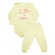Conjunto Bebê Body Princesa Do Pedaço Amarelo Com Rosa
