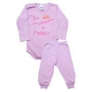 Conjunto Bebê Body Princesa Do Pedaço Rosa Com Rosa