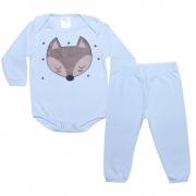 Conjunto Bebê Body Raposa Azul