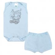 Conjunto Bebê Body Regata Elefantinho Azul