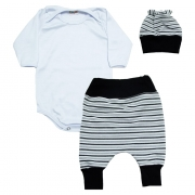 Conjunto Bebê Body, Saruel e Touca Branco