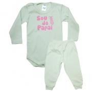 Conjunto Bebê Body Sou Do Papai  Verde Com Rosa