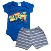 Conjunto Bebê Body Trenzinho e Shorts Listrado Azul