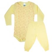 Conjunto Bebê Body Ursinhos Amarelo