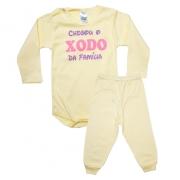 Conjunto Bebê Body Xodó Da Família Amarelo Com Rosa
