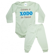 Conjunto Bebê Body Xodó Da Família Verde Com Azul