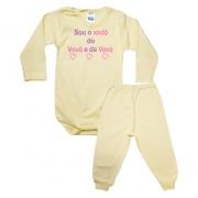 Conjunto Bebê Body Xodó do Vovô e Da Vovó Amarelo Com Rosa