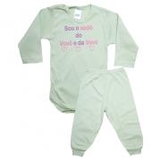Conjunto Bebê Body Xodó do Vovô e Da Vovó Verde Com Rosa