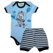 Conjunto Bebê Body Zebra Azul