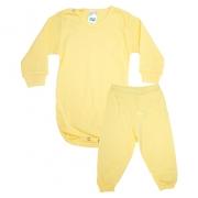 Conjunto Bebê Canelado Liso Amarelo