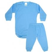 Conjunto Bebê Canelado Liso Azul