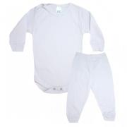 Conjunto Bebê Canelado Liso Branco