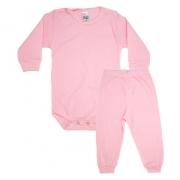 Conjunto Bebê Canelado Liso Rosa