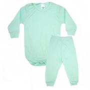 Conjunto Bebê Canelado Liso  Verde