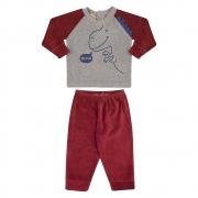 Conjunto Bebê Dino Bordô