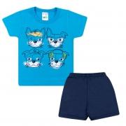Conjunto Bebê Dogs Azul