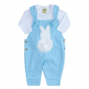 Conjunto Bebê Jardineira Branco e Azul