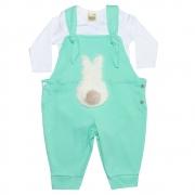 Conjunto Bebê Jardineira Branco e Verde