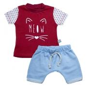 Conjunto Bebê Meow Vermelho