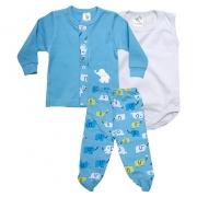 Conjunto Bebê Pagão 03 Peças Azul