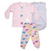 Conjunto Bebê Pagão 03 Peças  Rosa