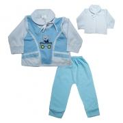 Conjunto Bebê Pagão Colete Azul