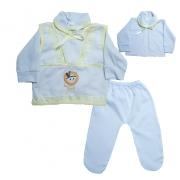 Conjunto Bebê Pagão Com Aplique  Branco e Amarelo