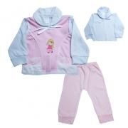 Conjunto Bebê Pagão Com Aplique  Branco e Rosa