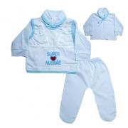 Conjunto Bebê Pagão Mamãe  Branco e Azul