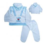 Conjunto Bebê Pagão Super Papai  Branco e Azul