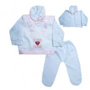 Conjunto Bebê Pagão Super Papai Branco e Rosa