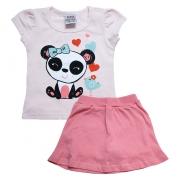 Conjunto Bebê Panda Salmão