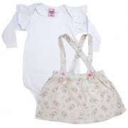 Conjunto Bebê Salopete Branco e Pérola