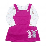 Conjunto Bebê Salopete Coelhinhos Pink