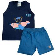 Conjunto Bebê Urso Aviador  Marinho