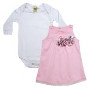 Conjunto Bebê Vestido Branco e Rosa