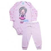 Conjunto Body Bebê Menina Rosa