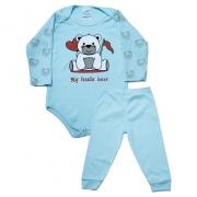 Conjunto Body Bebê Ursinho Azul