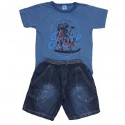 Conjunto Dino Malha Flamê Marinho e Bermuda Jeans Marinho