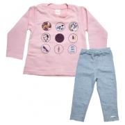 Conjunto Infantil Aplique Lantejoulas  Rosê