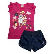 Conjunto Infantil Bicho Preguiça Pink