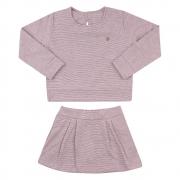 Conjunto Infantil Casaco e Short Saia Rosa
