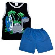 Conjunto Infantil Dino Surf Preto