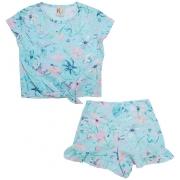 Conjunto Infantil Floral Azul